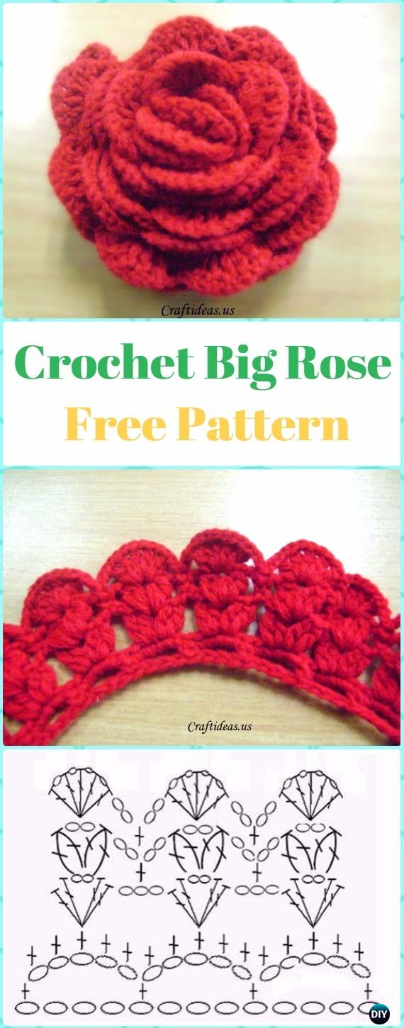 Crochet Big 3D Rose Flower Free Pattern -Crochet 3D Rose Flower Free Patterns
