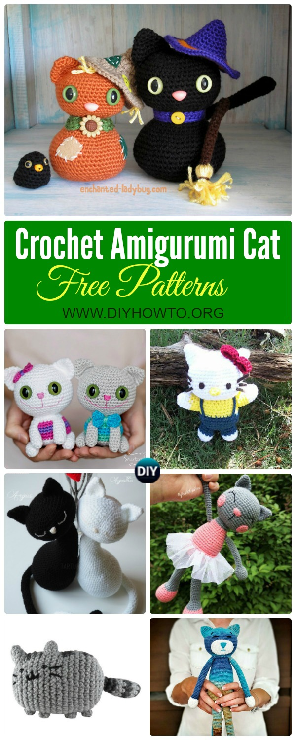Collection of Crochet Amigurumi Cat Free Patterns: Amigurumi Hello Kitty, Kitty Toy Plush and Softie