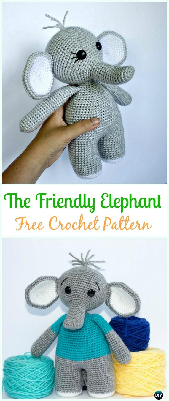 Crochet The Friendly Elephant Amigurumi Free Pattern - #Crochet Amigurumi Crochet #Elephant Toy Softies Free Patterns