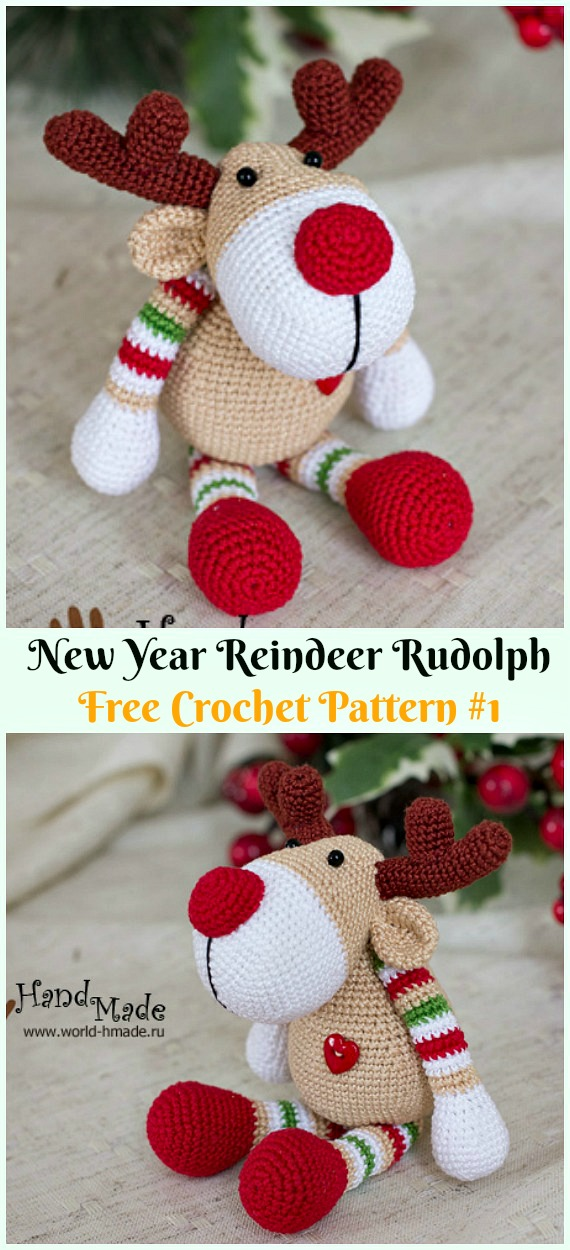 Amigurumi New Year Reindeer Rudolph Crochet Free Pattern - Crochet #Amigurumi; #Reindeer; Toy Softies Free Patterns