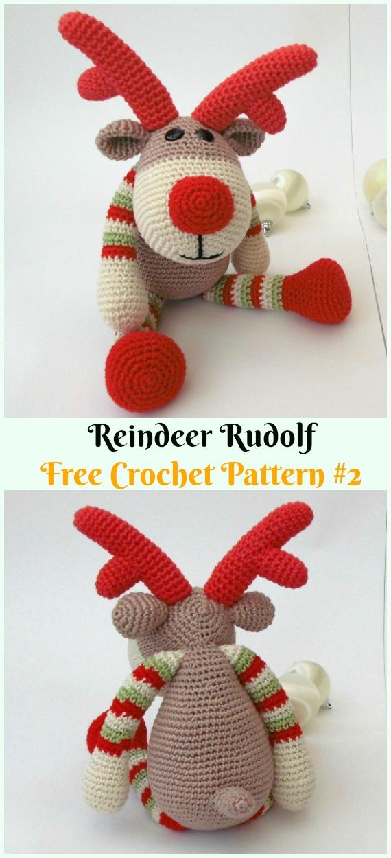 Amigurumi Reindeer Rudolph Crochet Free Pattern - Crochet #Amigurumi; #Reindeer; Toy Softies Free Patterns