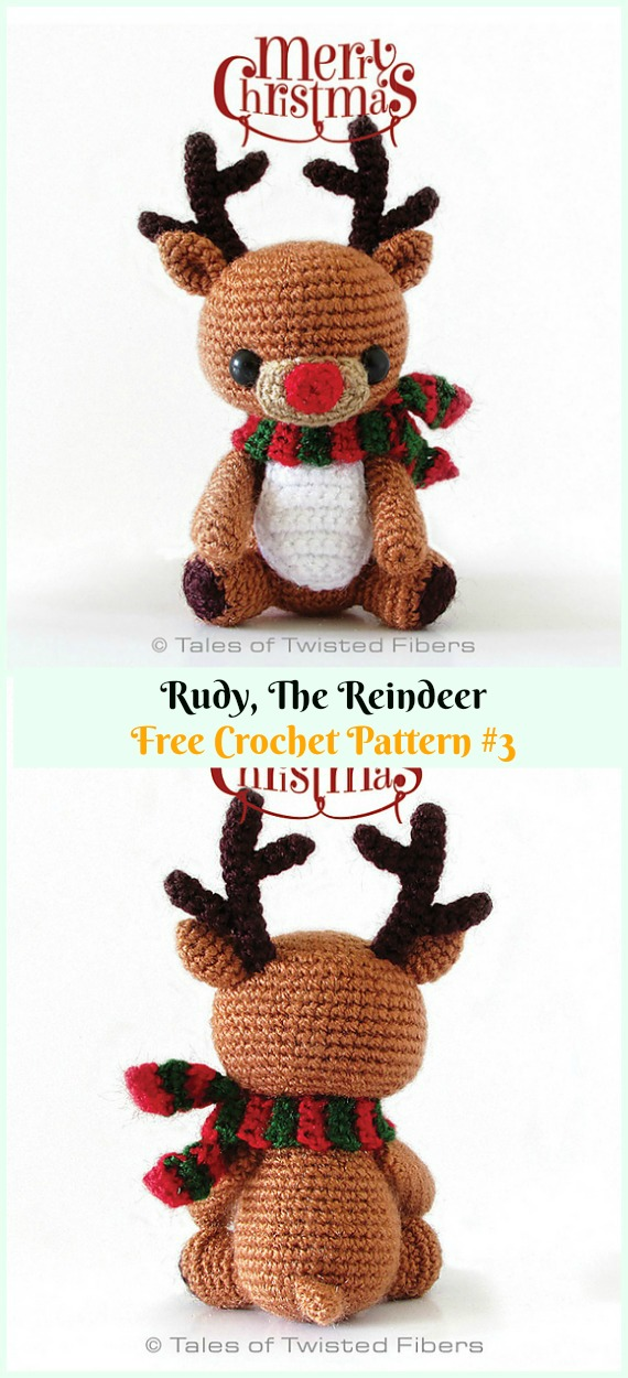 Amigurumi Rudy The Reindeer Crochet Free Pattern - Crochet #Amigurumi; #Reindeer; Toy Softies Free Patterns