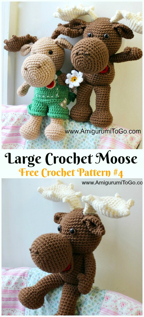 Amigurumi Large Crochet Moose Free Pattern - Crochet #Amigurumi; #Reindeer; Toy Softies Free Patterns