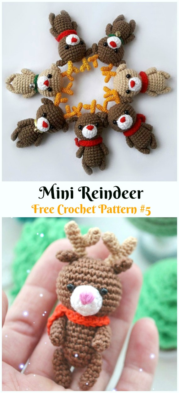Amigurumi Mini Reindeer Free Crochet Pattern - Crochet #Amigurumi; #Reindeer; Toy Softies Free Patterns