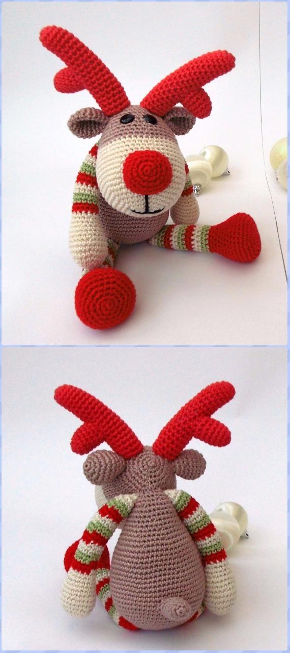 Crochet Amigurumi Reindeer Rudolf Free Pattern - Crochet Amigurumi Deer Toy Softies Free Patterns