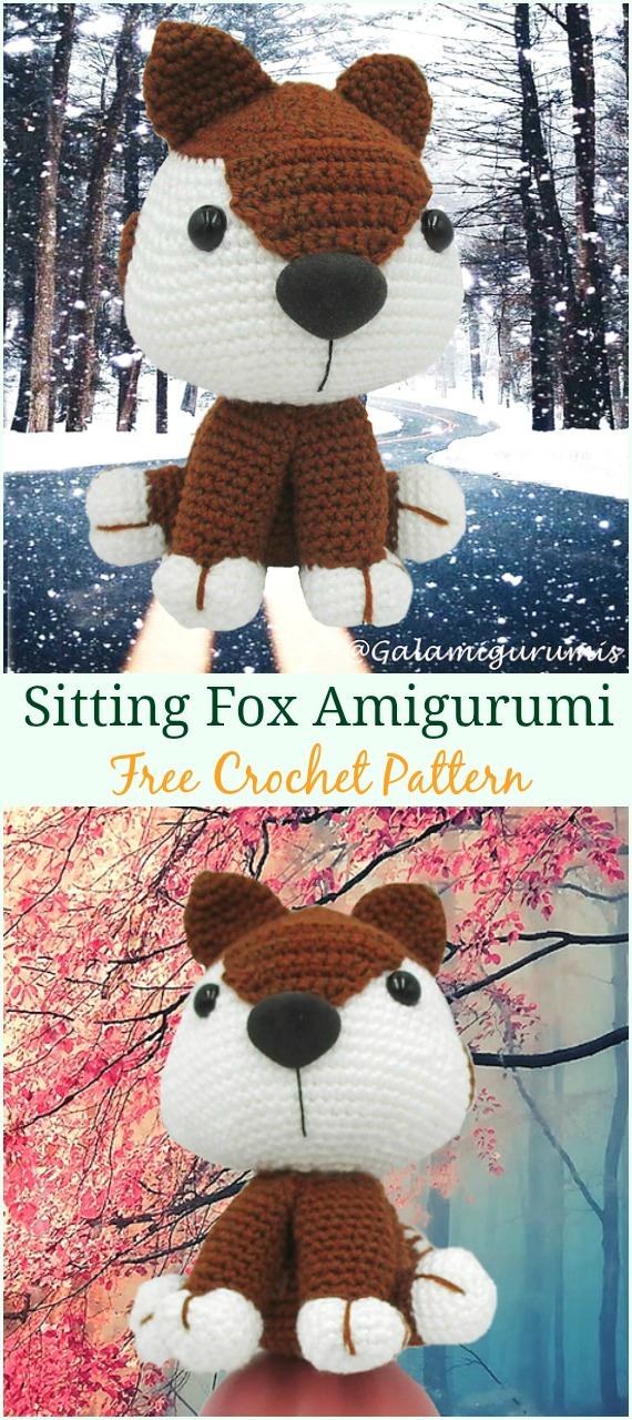 Sitting Fox Amigurumi Crochet Free Pattern -Crochet #Amigurumi; #Fox; Toy Softies Free Patterns