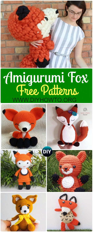 Collection of Crochet Amigurumi Fox Free Patterns & Tutorials: Amigurumi Fox Toys Softies, sleepy fox, walking fox, sitting fox, fox doll, ragdoll fox