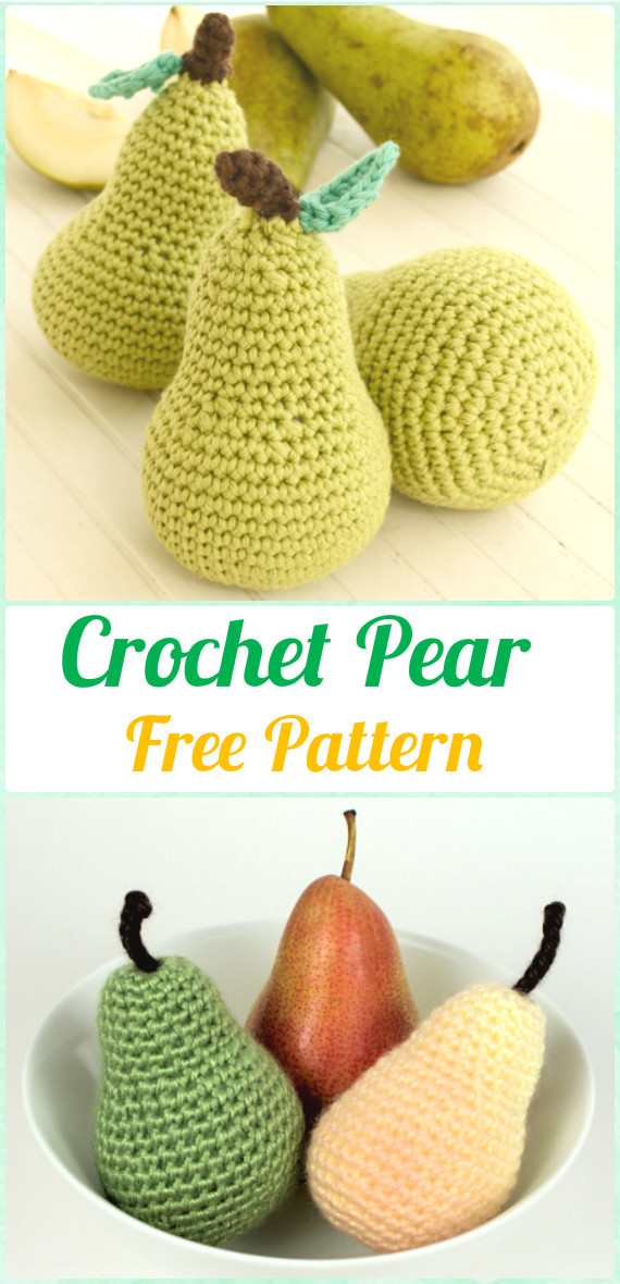 Crochet Amigurumi Pear Free Pattern - Crochet Amigurumi Fruits Free Patterns