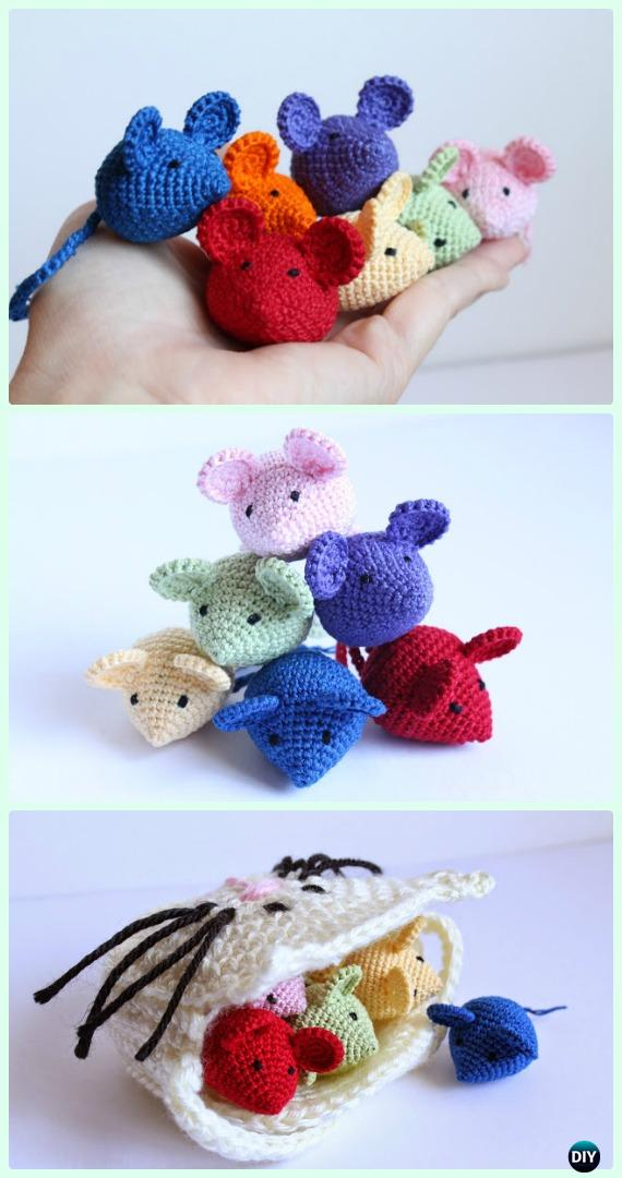 Crochet Tiny Amigurumi Mouse Free Pattern - Crochet Amigurumi Little World Animal Toys Free Pattern