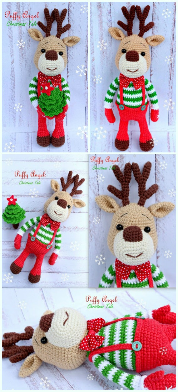 Amigurumi Christmas Reindeer Free Crochet Pattern - Crochet #Amigurumi; #Reindeer; Toy Softies Free Patterns