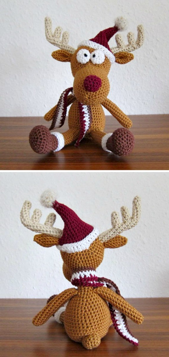 Amigurumi Tobi Christmas Deer in Hat Free Crochet Pattern - Crochet #Amigurumi; #Reindeer; Toy Softies Free Patterns