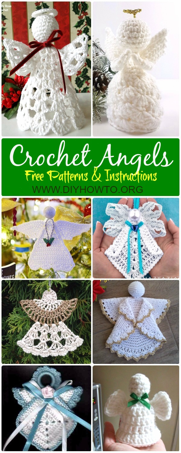 Collection of Crochet Angel Free Patterns & Tutorials: Crochet Granny Square Angel, Circle Angel, Angel Applique, Angel Christmas Ornament, Angel Tree Topper