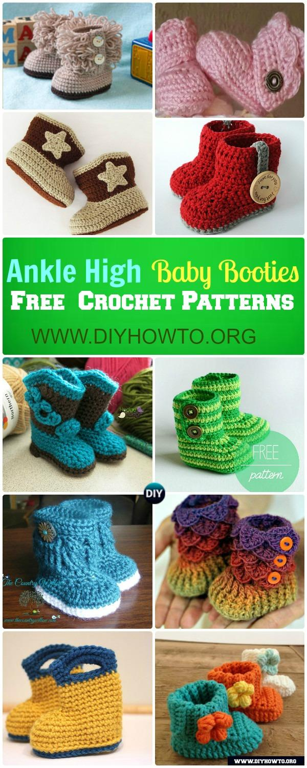 Crochet ankle high baby booties free patterns tutorials keep baby feet in style and warmth with these ankle high baby bootiesboots free bankloansurffo Images