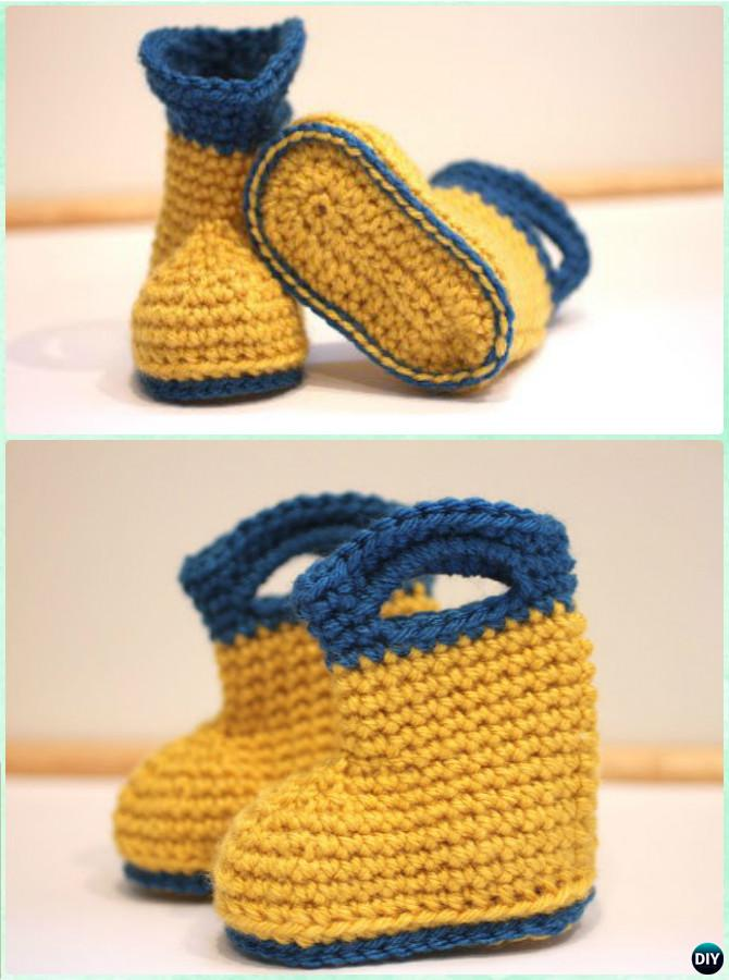 Crochet Baby Rain Boots Free Pattern-Crochet Ankle High Baby Booties Free Patterns