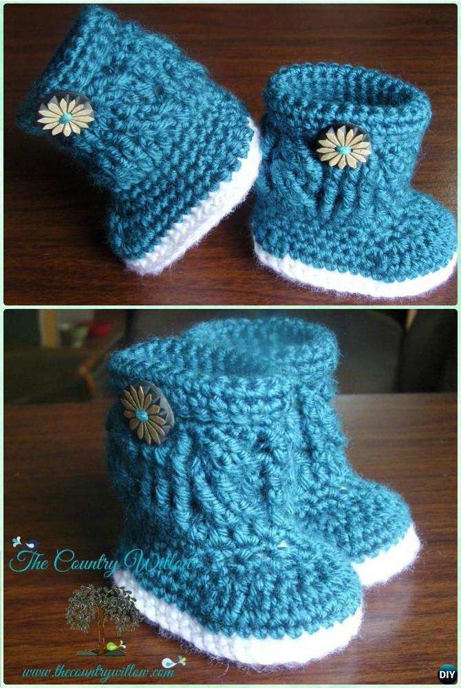 Crochet Charlotte Marie Baby Boots Free Pattern-Crochet Ankle High Baby Booties Free Patterns
