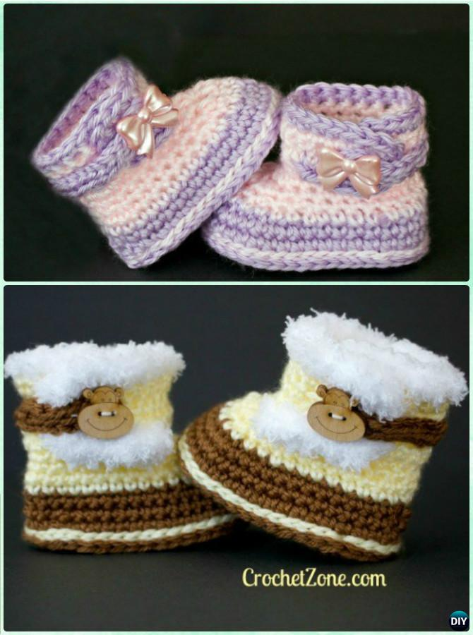 Crochet Baby Fuzzy Snow Boots Free Pattern-Crochet Ankle High Baby Booties Free Patterns