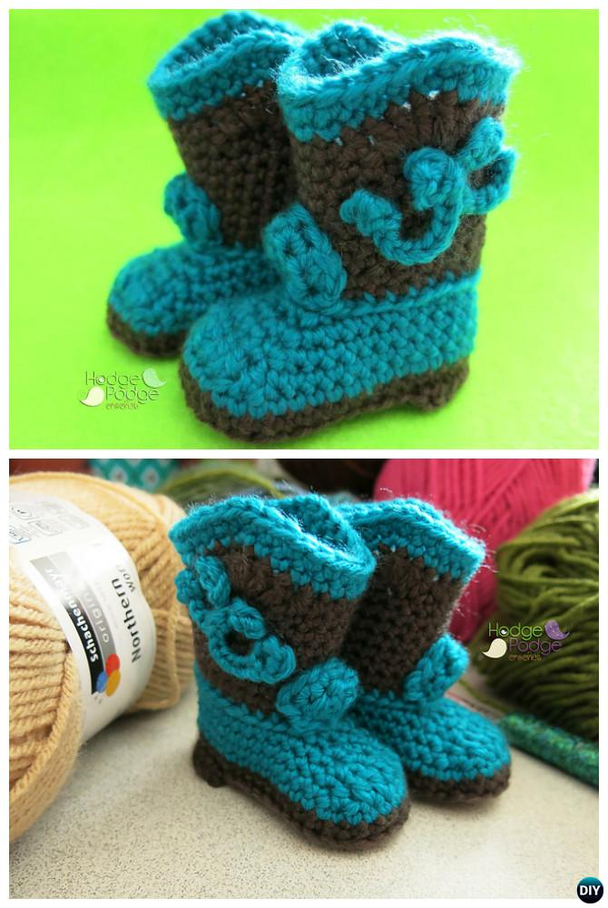 Crochet Baby Cowboy Boots Free Pattern-Crochet Ankle High Baby Booties Free Patterns