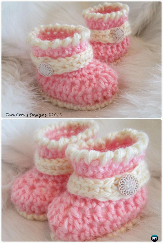 Crochet Quick Little Baby Boots Free Pattern-Crochet Ankle High Baby Booties Free Patterns