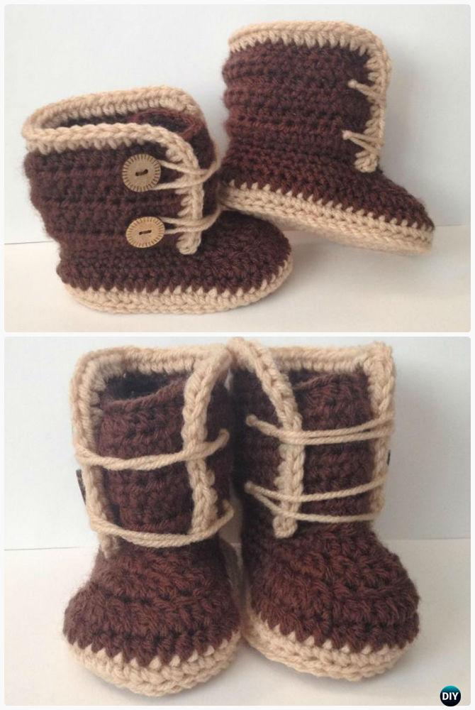 Crochet Baby Winter Boots Free Pattern-Crochet Ankle High Baby Booties Free Patterns