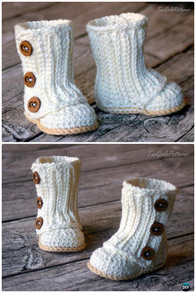 Crochet Baby Wrap Boots Pattern-Crochet Ankle High Baby Booties Free Patterns