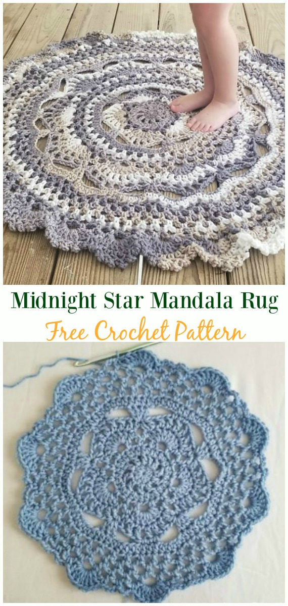 Midnight Star Mandala Rug Crochet Free Pattern - #Crochet Area #Rug Ideas Free Patterns