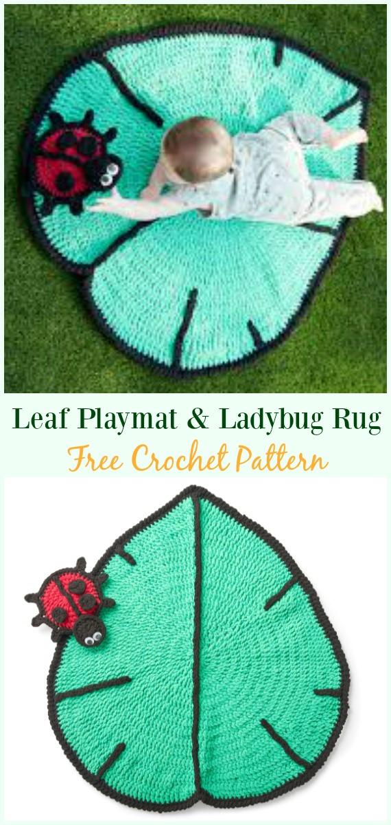 Leaf Playmat & Ladybug Toy Crochet Free Pattern - #Crochet Area #Rug Ideas Free Patterns