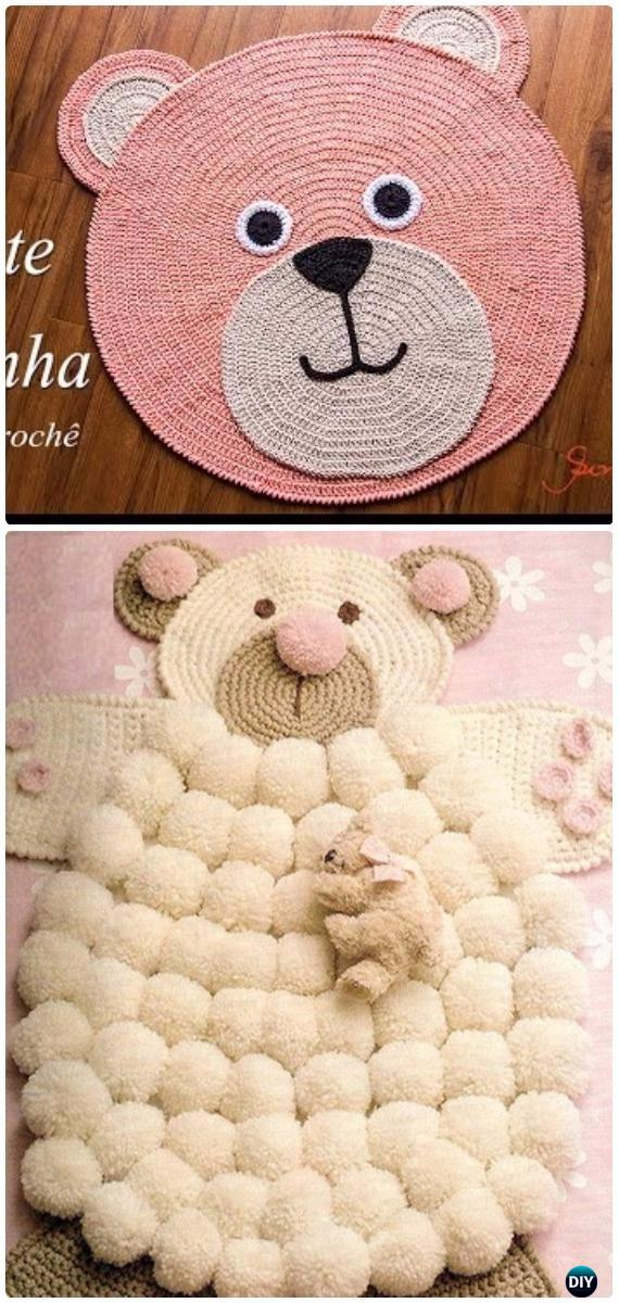 Crochet Pom Pom Teddy Bear Rug Free Pattern [Video] - Crochet Area Rug Ideas Free Patterns