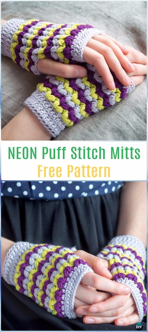 Crochet NEON Puff Stitch Mitts Free Pattern - Crochet Arm Warmer Free Patterns