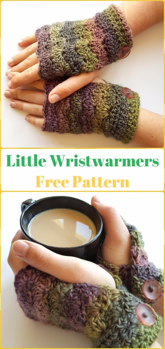 Crochet Nifty Little Wristwarmers Free Pattern - Crochet Arm Warmer Free Patterns