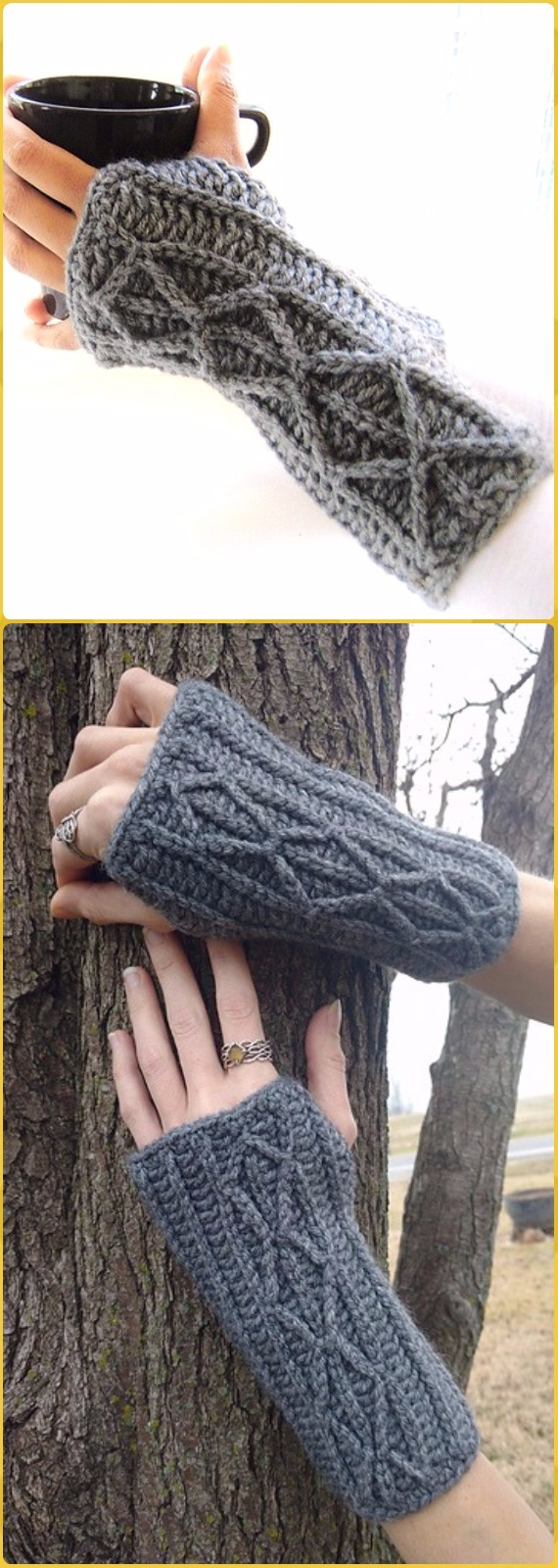 Crochet Faux Cable Adeline Fingerless Mitts or Arm Warmers Free Pattern - Crochet Arm Warmer Free Patterns