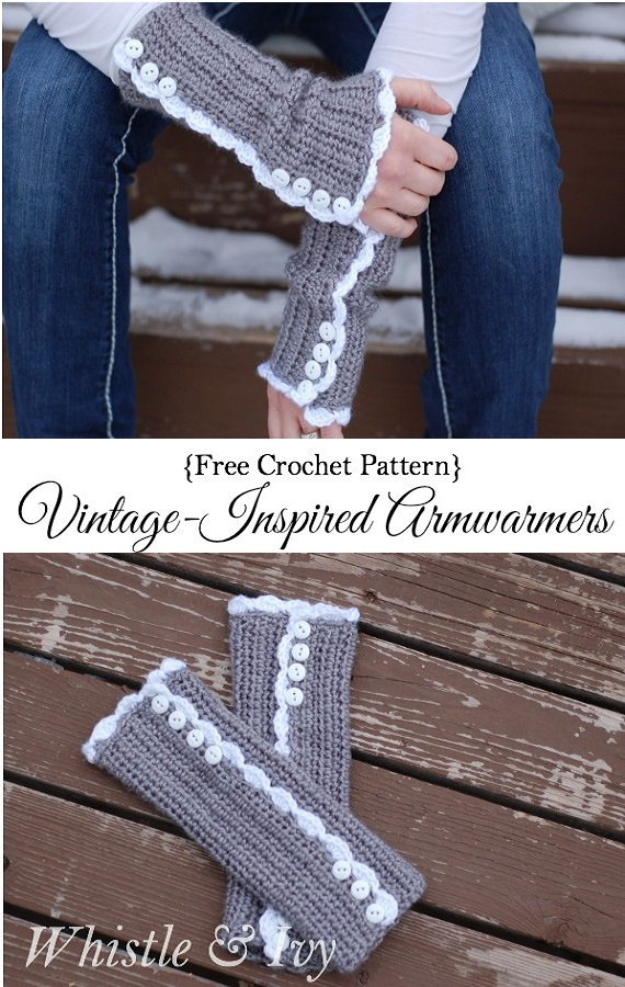 Crochet Vintage-Inspired Armwarmers Free Pattern - Crochet Arm Warmer Free Patterns