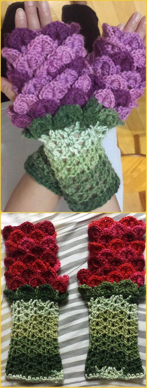 Crochet Flower Dragon Gauntlets Free Pattern - Crochet Arm Warmer Free Patterns