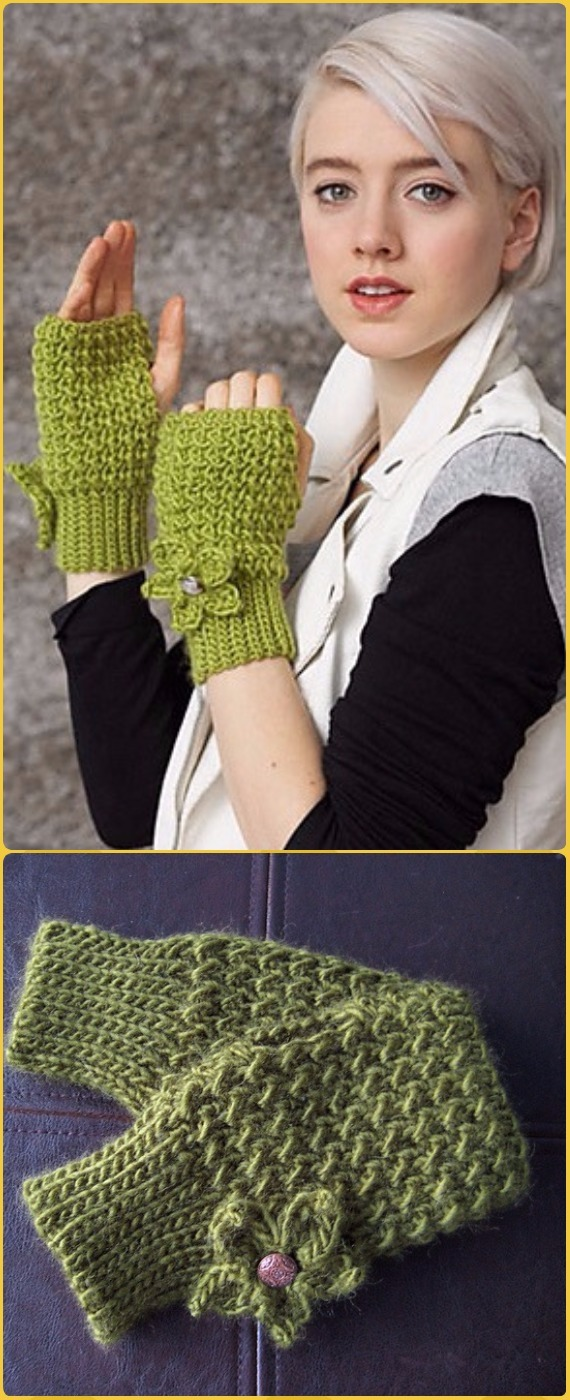 Crochet Mossy Mitts Free Pattern - Crochet Arm Warmer Free Patterns