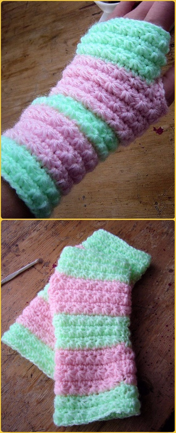 Crochet Star Stitch Hand Warmers Free Pattern - Crochet Arm Warmer ...