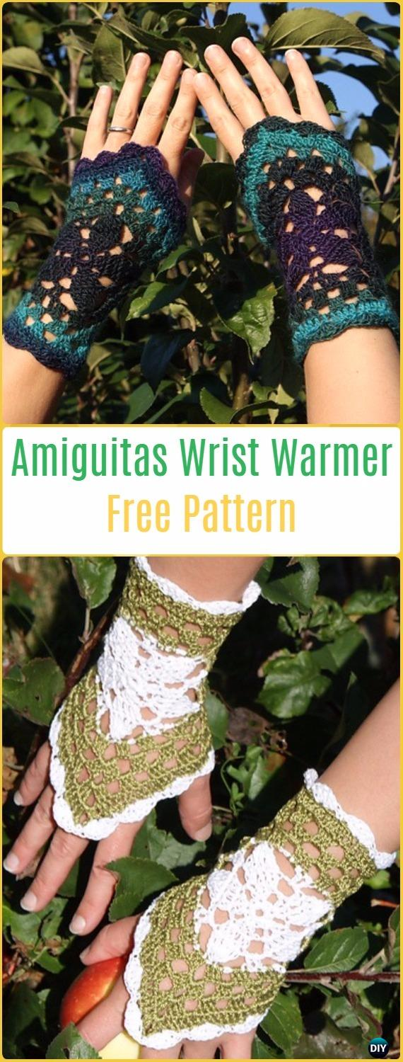 Crochet Amiguitas Hand Cuff Wrist Warmer Free Pattern - Crochet Arm Warmer Free Patterns
