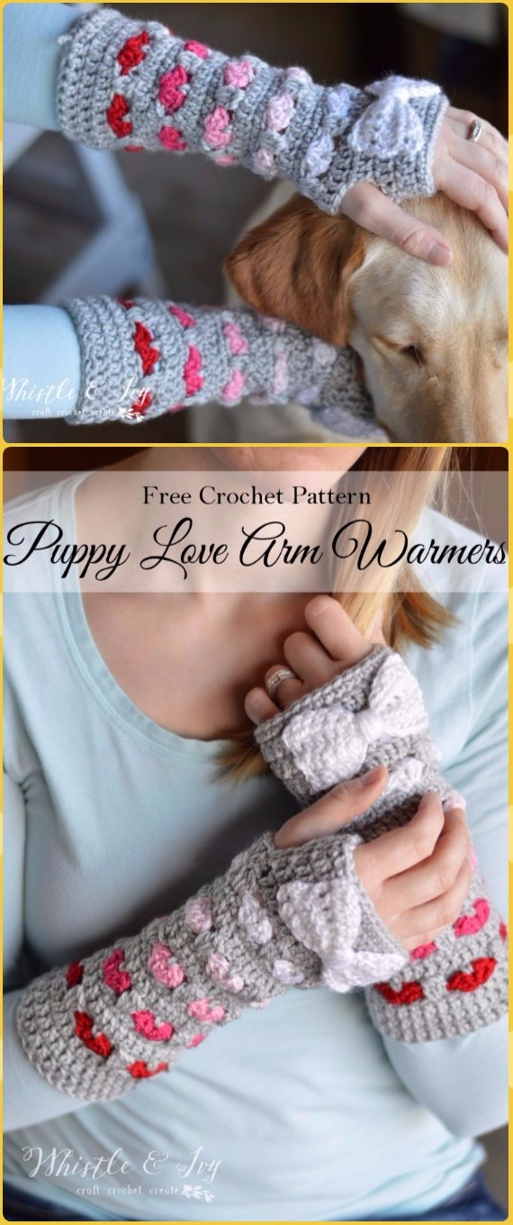 Crochet Puppy Love Arm Warmers Free Pattern - Crochet Arm Warmer Free Patterns