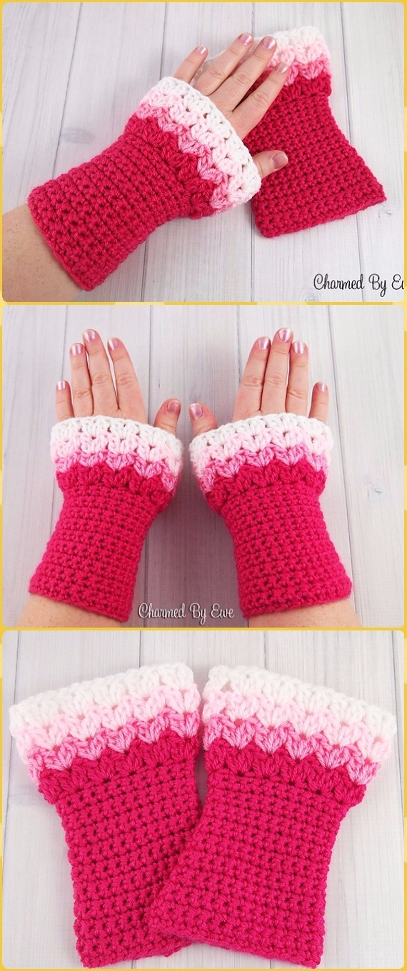 Crochet Sweetheart Wrist Warmers Free Pattern - Crochet Arm Warmer Free Patterns