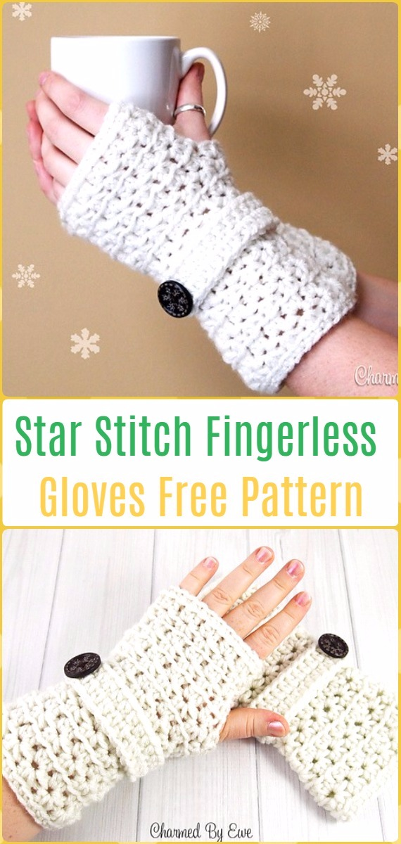 Crochet Star Stitch Fingerless Gloves Free Pattern - Crochet Arm Warmer Free Patterns