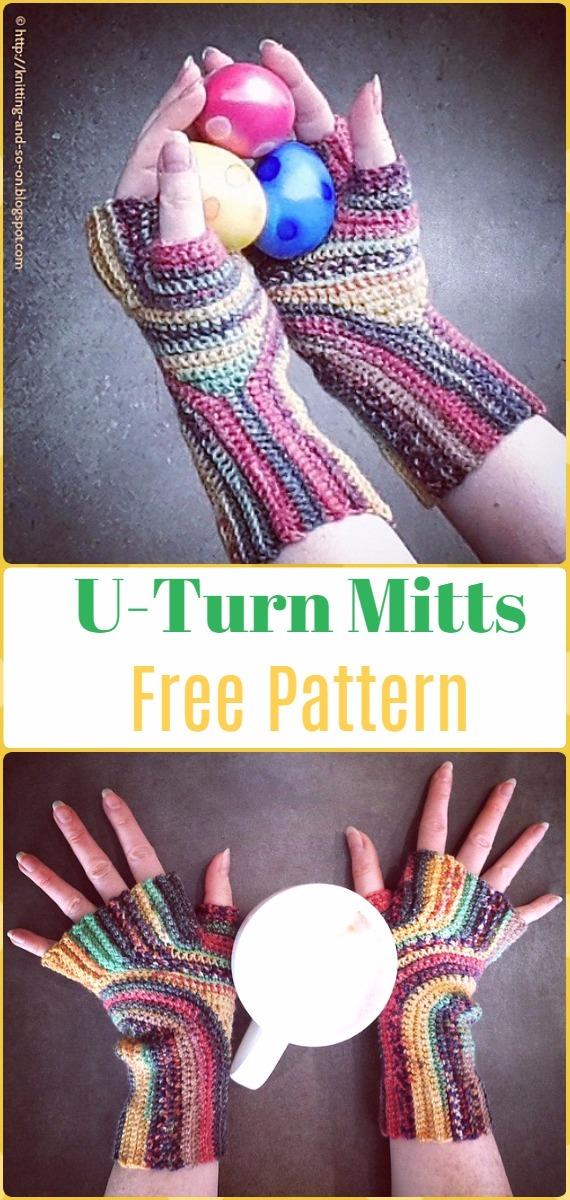 Crochet U-Turn Mitts Free Pattern - Crochet Arm Warmer Free Patterns