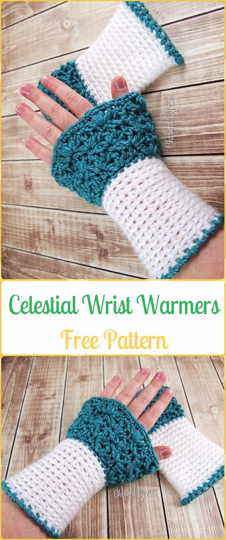 Crochet Celestial Wrist Warmers Free Pattern - Crochet Arm Warmer Free Patterns