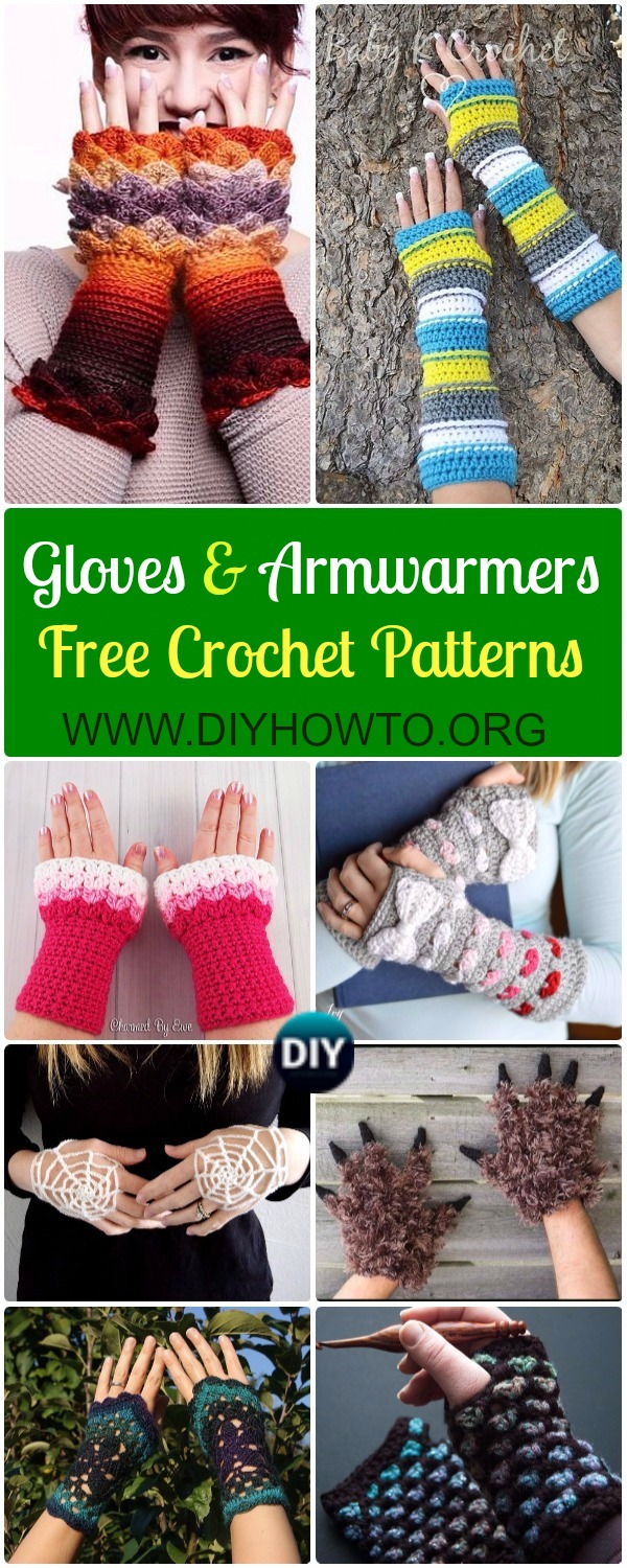 Crochet Fingerless Gloves Wrist Warmer Free Patterns: Crochet Mitts, Gloves, Armwarmers, Handwarmers, Hand Cuffs Cold Weather Gift ideas