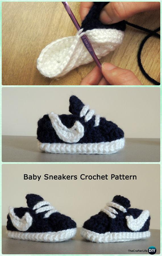Crochet Nike Style Baby Sneaker Booties Free Pattern - Crochet Baby Booties Slippers Free Pattern