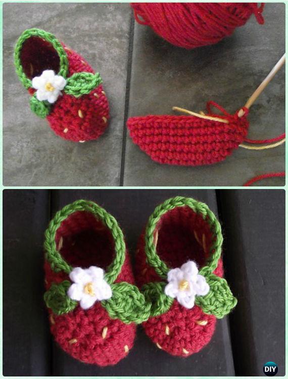 Crochet Strawberry Baby Booties Free Pattern - Crochet Baby Booties Slippers Free Pattern