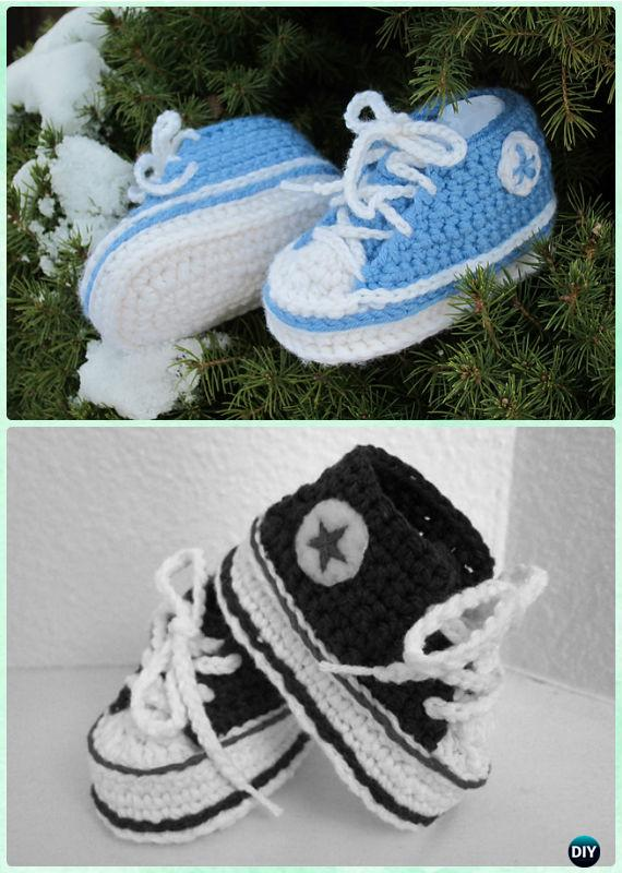 bb9add3774de3 Crochet Baby Converse Sneaker Booties Free Pattern - Crochet Baby Booties Slippers  Free Pattern