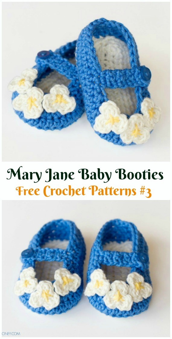 Mary Jane Baby Booties Crochet Free Pattern  - #Crochet Baby #Booties Slippers Free Patterns