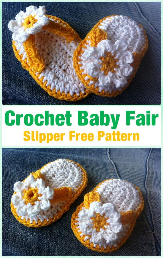 Crochet Baby Fair Slipper Free Pattern - Crochet Baby Flip Flop Sandals [FREE Patterns]
