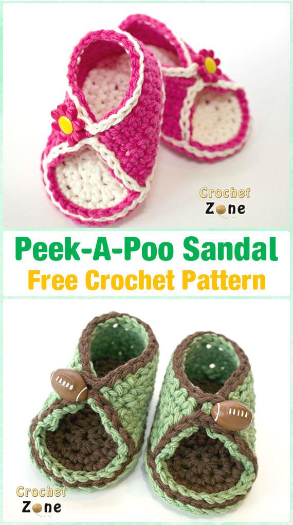 Crochet Peek-A-Poo Sandals Free Pattern - Crochet Baby Flip Flop Sandals [FREE Patterns]