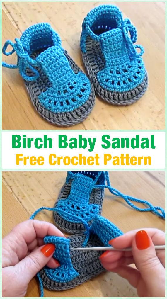 Crochet Birch Baby Sandals Free Pattern Video - Crochet Baby Flip Flop Sandals [FREE Patterns]
