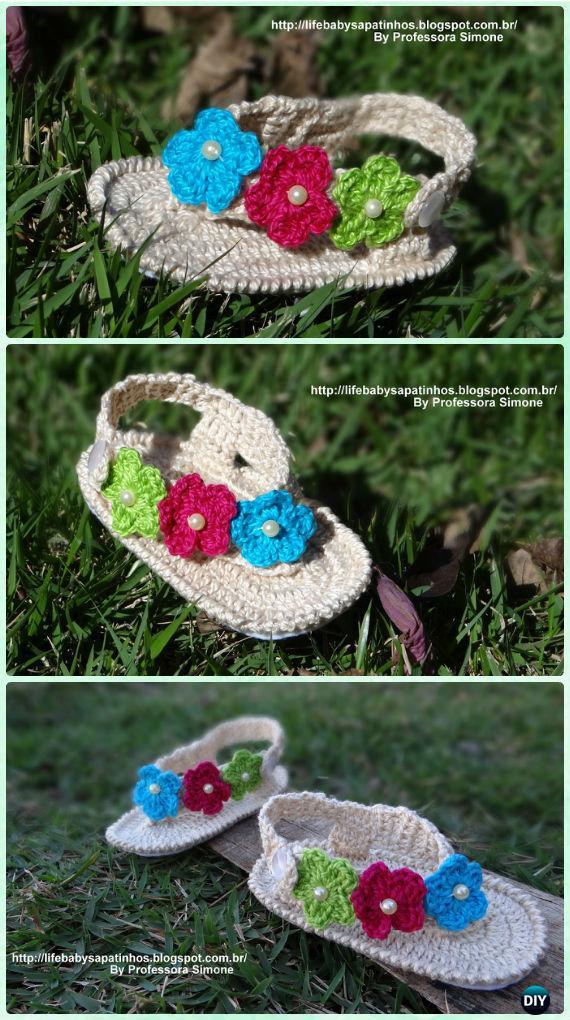 20 Crochet Baby Flip Flop Sandals Free Patterns