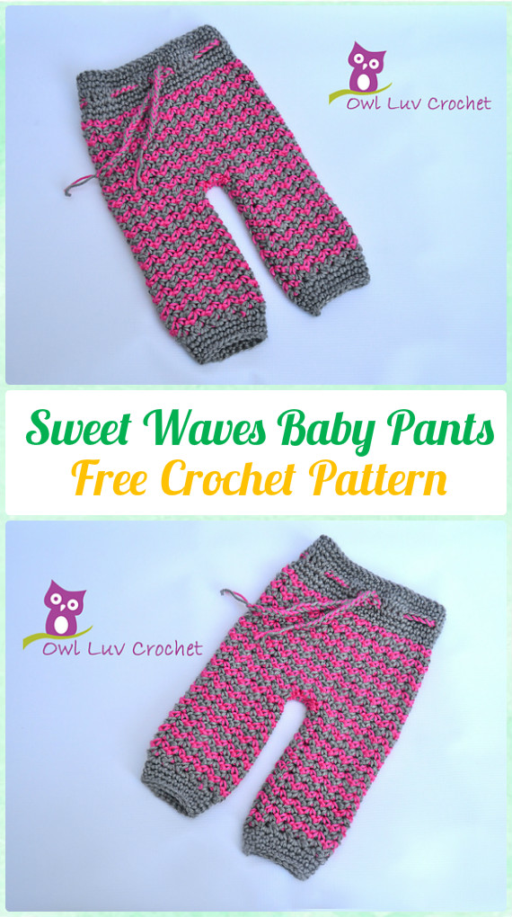 Crochet Sweet Waves Baby Pants Free Pattern - Crochet Baby Pants Free Patterns
